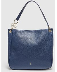 Gloria Ortiz Gianni Navy Blue Leather Hobo Bag With Magnet