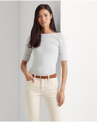Lauren by Ralph Lauren Wo Short Sleeve T-shirt With Stripe Print - Multicolor