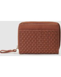 El Corte Inglés - Small Brown Plaited Leather Wallet - Lyst