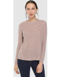 indi & cold - Long Sleeve Jumper With Openwork Designs - Lyst