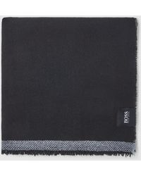 BOSS Black Semi-smooth Knit Foulard With A Grey Stripe