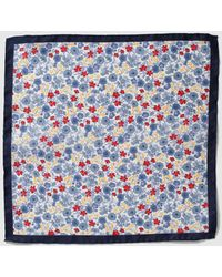 Mirto - White Silk Pocket Square With Multicoloured Flowers And Navy Blue Edging - Lyst
