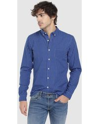 Green Coast - Blue Checked Slim-fit Shirt - Lyst