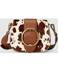 Polo Ralph Lauren - Brown Cowhide Leather And Fur Mini Crossbody Bag - Lyst 556c74c5af