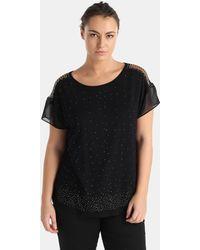 Couchel | Plus Size T-shirt With Diamanté And A Little Chain On The Shoulders | Lyst