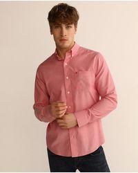 Izod Mens Regular-fit Plain Red Oxford Shirt