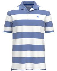Izod Mens Regular-fit Blue And White Striped Short-sleeve Polo Shirt