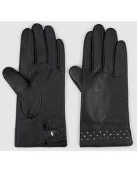 El Corte Inglés Black Leather Gloves With Studs