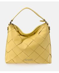 Guy Laroche Yellow Leather Hobo Bag With Criss-cross Strips On The Front