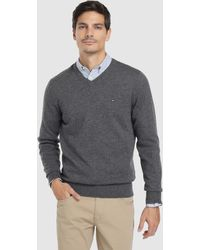 Tommy Hilfiger - Grey Virgin Wool Sweater With A V-neck - Lyst