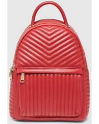 El Corte Inglés Red Quilted Backpack With Zip
