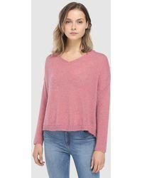 indi & cold - Pink V-neck Jumper - Lyst