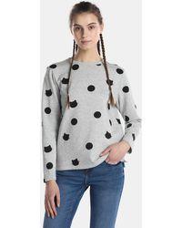 Esprit - Grey Sweatshirt With Polka Dots - Lyst