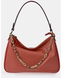 Guy Laroche Red Leather Hobo Bag With Mock-croc Details