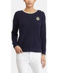 Lauren by Ralph Lauren - Jumper With Shoulder Buttons And Embroidery - Lyst