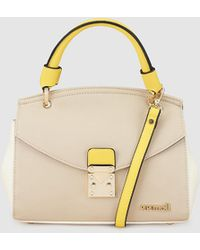 Pepe Moll - Tricoloured Beige, Taupe And Yellow Handbag With A Flap - Lyst