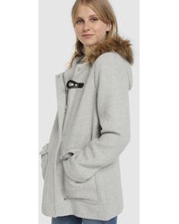 Green Coast Wo Hooded Duffle Coat With Fur - Gray