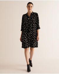 Couchel Plus Size Polka Dot Shirt Dress - Black