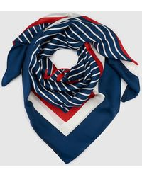 Lauren by Ralph Lauren - Blue And White Striped Silk Scarf - Lyst
