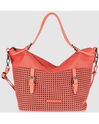 Caminatta | Large Coral Shopper Bag With Cutwork And A Detachable Strap | Lyst