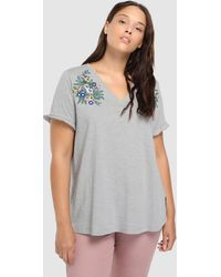Couchel - Plus Size Short Sleeve T-shirt With Floral Embroidery - Lyst