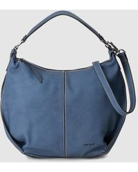 Pepe Moll Blue Hobo Bag With Contrasting Topstitching