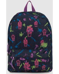 Green Coast - Wo Blue Denim Backpack With Cactus Embroidery And Contrasting Print - Lyst