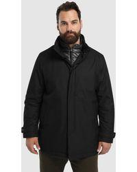 Mirto - Big And Tall Black Raincoat With Bib Front - Lyst