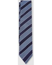 Tommy Hilfiger Silk Tie With Diagonal Stripes - Blue