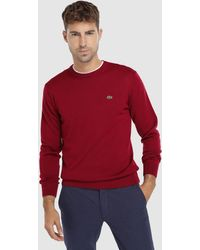 Lacoste Red Jumper With A Round Collar