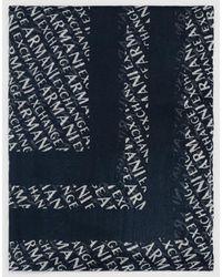 Armani Exchange Navy Blue Foulard With Brand Logo