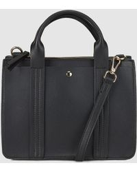 El Corte Inglés - Small Black Handbag With Front Strap With Top Stitching - Lyst
