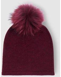 El Corte Inglés Burgundy Knitted Hat With Fur Pompom - Multicolor