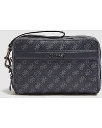 Guess Dark Gray Printed Toiletry Bag With Two Compartments