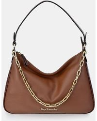 Guy Laroche Brown Leather Hobo Bag With Mock-croc Details