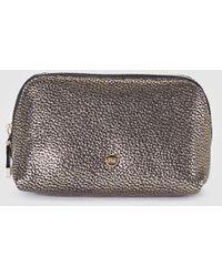 Gloria Ortiz Sofia Shimmer Small Golden Leather Toiletry Bag - Metallic
