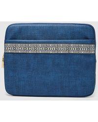 El Corte Inglés - Wo Navy Blue Canvas Briefcase With Border Detail - Lyst