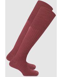Punto Blanco Calcetines De Lana Merina De Australia De Hombre Altos Granates - Rojo