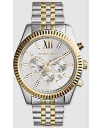 Michael Kors Lexington Two Tone Stainless Steel Men's Chrono Watch - Metallic