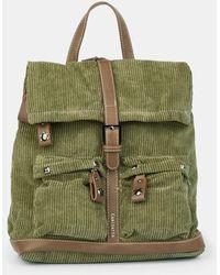 Caminatta Khaki Corduroy Backpack With Brown Details - Green