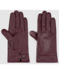 El Corte Inglés Burgundy Leather Gloves With Studs - Purple