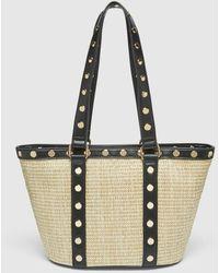 El Corte Inglés Small Tan And Black Synthetic Raffia Shopper Bag With Gold Studs - Multicolor