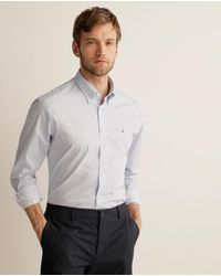 Tommy Hilfiger Mens Printed Blue Classic-fit Shirt - Gray