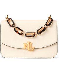 Lauren by Ralph Lauren Madison Medium White Leather Crossbody Bag