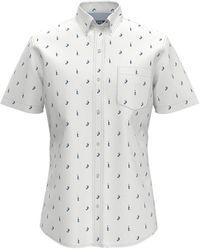 Izod Mens Regular Fit White Printed Shirt