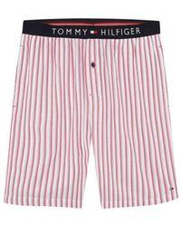 Tommy Hilfiger Mens Red Fabric Pajama Shorts