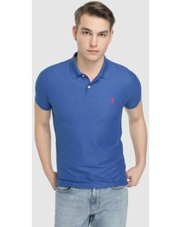 Izod - Regular-fit Blue Short Sleeve Piqué Polo Shirt - Lyst
