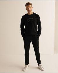 Emporio Armani Mens Black Long Sleeve Homewear Sweatshirt