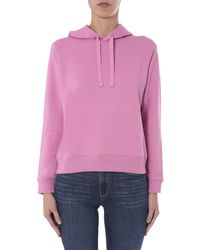 A.P.C. Embroidered Logo Cotton Hooded Sweatshirt - Pink