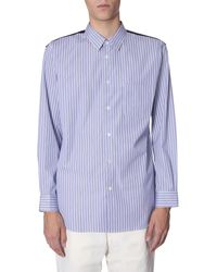 Comme des Garçons Striped Shirt With Flanell Back - Blue